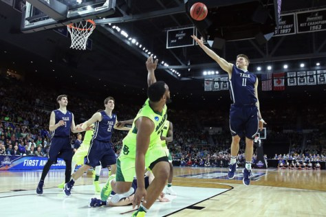 Makai Mason and the #12 seeded Yale Bulldogs upset the fifth seeded Baylor Bears in the First Round. Yale faces Duke in the Second Round on Saturday, March 19, 2016. (Jim Rogash/Getty Images North America)