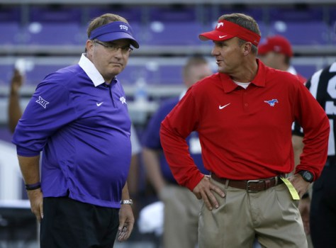 SMU head coach Chad Morris (right) talks with TCU head coach Gary Patterson. Morris has SMU going the right way. (Ron Jenkins/Getty Images North America)