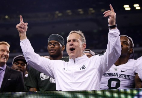 Mark Dantonio and Michigan State won the 2015 Big Ten Championship over Iowa by a score of 16-13. (Joe Robbins/Getty Images North America)