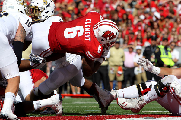 Corey Clement saw the end zone twice against Akron, but left early due to injury. (Dylan Buell/Getty Images North America)