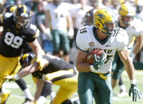 Chase Morlock and North Dakota State defeated the then ranked #13 Iowa Hawkeyes of the FBS 23-21 on the road. North Dakota State is the top overall seed in the 2016 FCS Playoffs. (Matthew Holst/Getty Images North America)