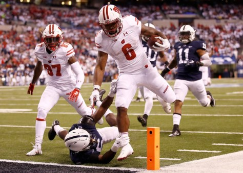 Corey Clement had a huge game in the Badgers loss 38-31 to Penn State in the Big 10 Championship. (Gregory Shamus/Getty Images North America)
