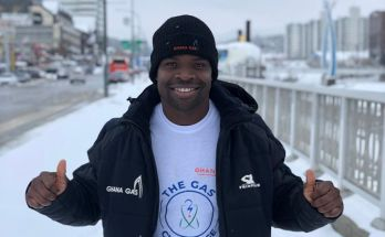 Ghana's skeleton Olympian, Akwasi Frimpong twice in the finals in Pyeongchang, South Korea