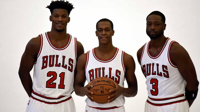 Jimmy Butler, Rajon Rondo and Dwyane Wade at media day