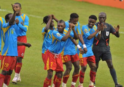 DR Congo players dance