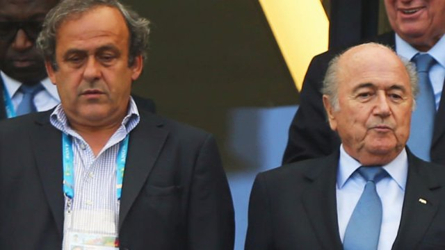 Michel Platini and Sepp Blatter - banned from all football related activity for 8 years