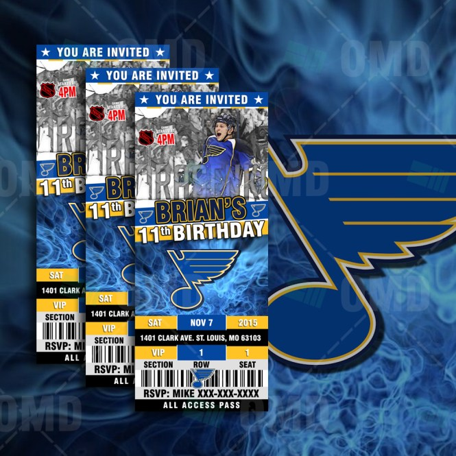 St Louis Blues Ticket Style Sports Party Invitations