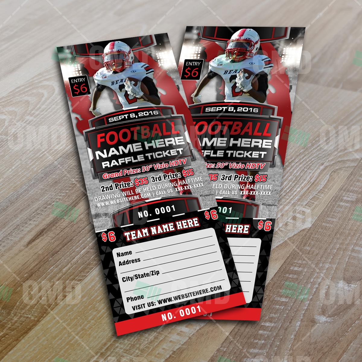 Sports Invites  Halftime Football Raffle Ticket Template