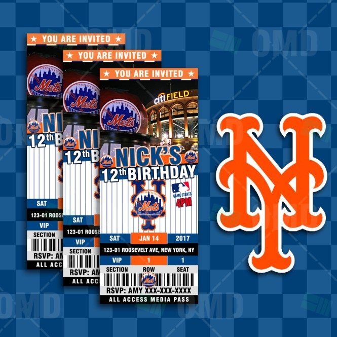 New York Mets Ticket Style Sports Party