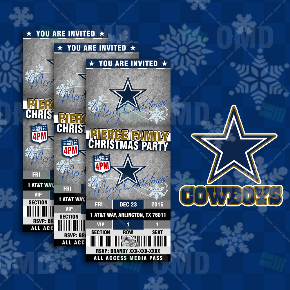 Dallas Cowboys Christmas Sports Invitations Sports Invites