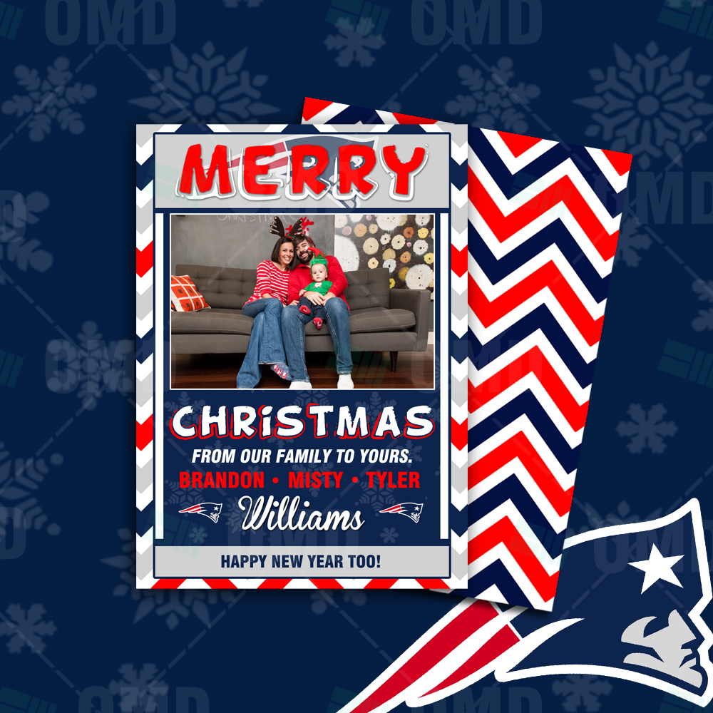 "New England Patriots ""Merry Christmas"" Cards – Sports Invites"