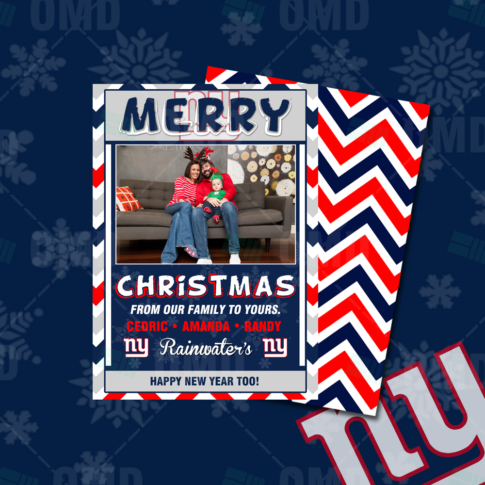 New York Giants Merry Christmas Cards Sports Invites