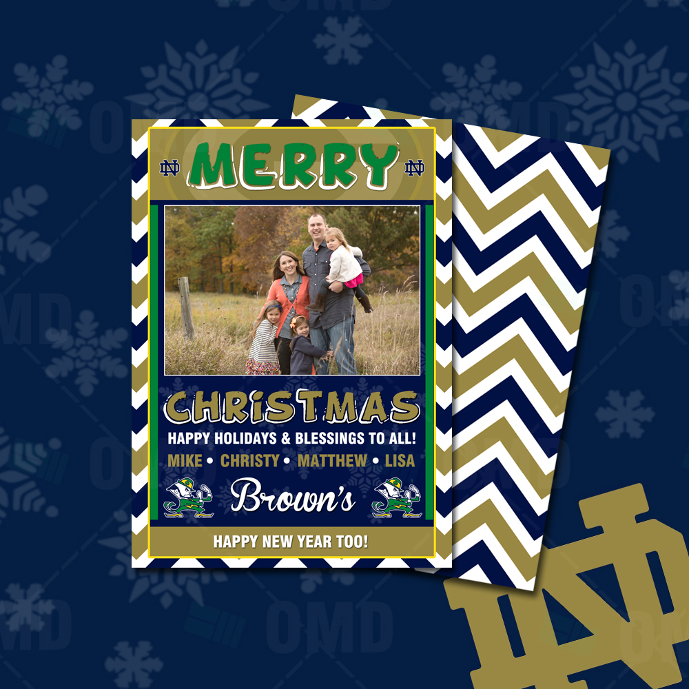 Notre Dame Fighting Irish Merry Christmas Cards Sports