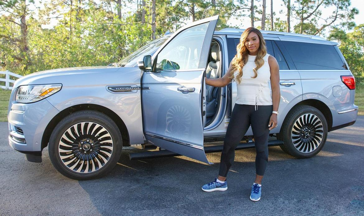 Luxury cars endorsed advertised promoted driven by tennis male female players sports sponsors list Serena Williams - Lincoln Motors