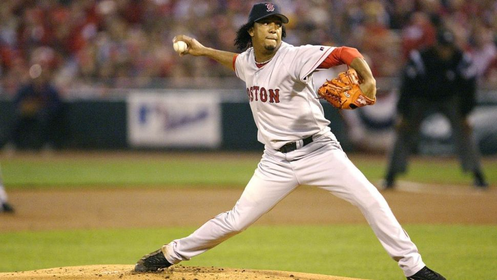 Pedro Martínez jugando con los Boston Red Sox