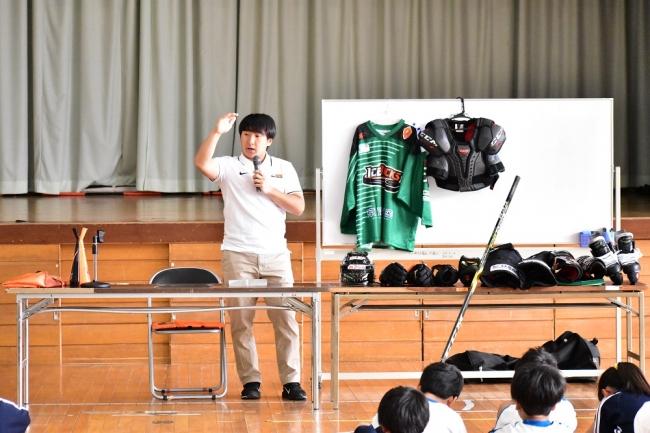【アイスバックス】石川選手、母校・日光市立今市小学校を訪問!