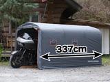ウルトラ級大型バイクも格納できる、全長337cm。