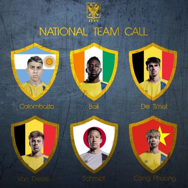 ©STVV/(左上から)コロンバット選手、ボリ選手、デ・スメット選手、ヴァン・デッセル選手、シュミット選手、コン・フォン選手