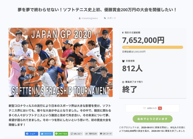 世界初!優勝賞金200万円のJAPAN GP2020のクラウドファンディングで7,652,000円の運営資金調達に成功!【ソフトテニス】