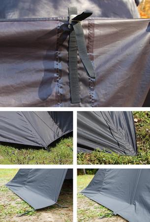 ポイント3 着脱式ペグ用ループの取り付け位置を変えることで、裾の高さ調節が可能。