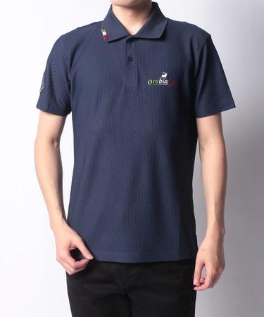 プラスリッチメッシュ半袖ポロシャツ(ネイビー)