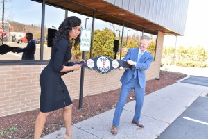 Bristol, CT - March 11, 2016 - Parking Lot: Cari Champion and David Lloyd with the Top 5 Champ belt (Photo by Nick Caito / ESPN Images)