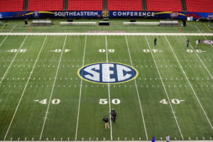 Atlanta, GA - December 4, 2015 - Georgia Dome: SEC logo prior to the 2015 SEC Championship game (Photo by Phil Ellsworth / ESPN Images)