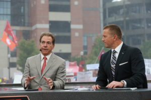 Tuscaloosa, AL - November 7, 2015 - University of Alabama: Coach Nick Saban and Kirk Herbstreit on the set of College GameDay Built by the Home Depot (Photo by Allen Kee / ESPN Images)