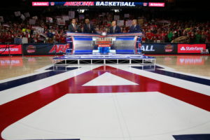 Tucson, AZ - February 21, 2015 - McKale Center: Rece Davis, Jay Williams, Seth Greenberg and Jay Bilas on the set of College GameDay Covered by State Farm (Photo by Allen Kee / ESPN Images)