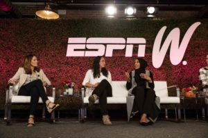 Chicago, IL - April 20, 2016: Julie Foudy, Maggie Steffens and Ibtihaj Muhammad during espnW: Women + Sports CHICAGO (Photo by Robby Klein / ESPN Images)