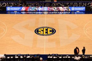 Nashville, TN - March 9, 2016 - Bridgestone Arena: SEC logo at mid court during the 2016 SEC Men's Basketball Tournament (Photo by Phil Ellsworth / ESPN Images)