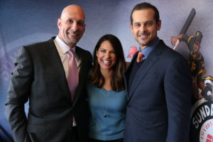 Bronx, NY - May 8, 2016 - Yankee Stadium: Dan Shulman, Jessica Mendoza and Aaron Boone during a regular season Sunday Night Baseball game (Photo by Allen Kee / ESPN Images)