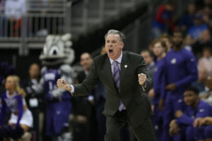 Kansas City, MO - March 9, 2017 - Sprint Center: Coach Jamie Dixon of the Texas Christian University Horned Frogs during the 2017 Big 12 Men's College Basketball Tournament (Photo by Gabriel Christus / ESPN Images)