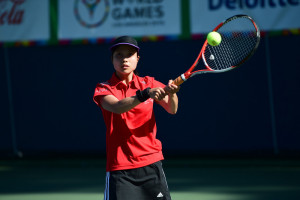 Los Angeles, CA - July 29, 2015 - Los Angeles Tennis Center: Aimi Obara of Japan participating in Tennis during the 2015 Special Olympics World Summer Games (Photo by Phil Ellsworth / ESPN Images)
