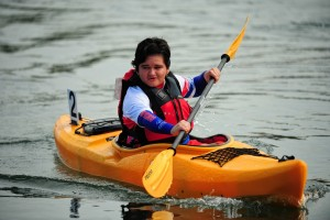 Long Beach, CA - July 30, 2015 - Marine Stadium: Athlete participating in kayaking during the 2015 Special Olympics World Summer Games (Photo by Kohjiro Kinno /  ESPN Images)