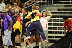 Los Angeles, CA - July 27, 2015 - Los Angeles Convention Center: Germany competing in Handball during the 2015 Special Olympics World Summer Games (Photo by Scott Clarke / ESPN Images)