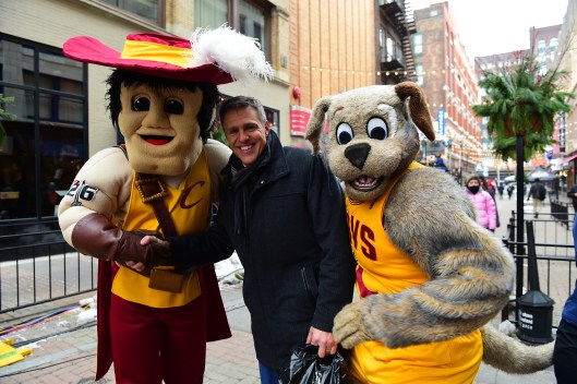 Cleveland, OH - November 19, 2014: Jay Crawford with Sir C.C. and Moondog mascots of the Cleveland Cavaliers at the offsite remote set of SportsCenter with (Photo by Phil Ellsworth / ESPN Images)