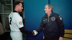FIRST PITCH - Bush shaking Jeter's hand (Still)