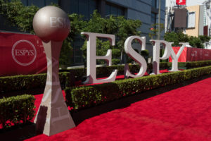 Los Angeles, CA - July 15, 2013 - .Nokia Theatre:   Red Carpet ESPY sign. (Photo by Rich Arden / ESPN Images)