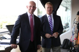 Canton, OH - August 7, 2016 - Tom Benson Hall of Fame Stadium: Sean McDonough and Jon Gruden during the 2016 Hall of Fame Game (Photo by Allen Kee / ESPN Images)