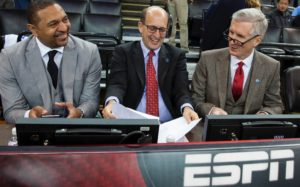 Oakland, CA - December 25, 2015 - Oracle Arena: Mark Jackson, Jeff Van Gundy and Mike Breen prior to the 2015 NBA Christmas Day game (Photo by Peter DaSilva / ESPN Images)