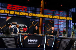 Bristol, CT - March 13, 2017 - Studio W: Rece Davis (l), Jay Williams, Seth Greenberg and Jay Bilas during the 2017 Tournament Challenge Marathon  (Photo by Melissa Rawlins / ESPN Images)