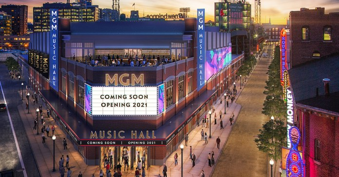 Image courtesy of Fenway Sports Group (FSG) and Live Nation, representing the MGM Music Hall at Fenway, next to Fenway Park, home of the Boston Red Sox (MLB).