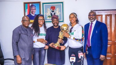 Photo of D'Tigress, NBBF presents FIBA Afrobasket trophy to Minister of Sports