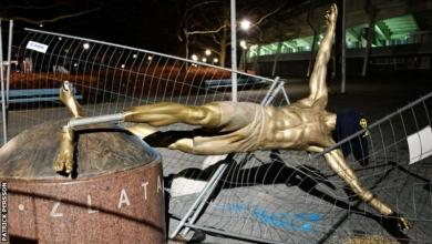 Photo of Ibrahimovich's Statue Toppled In Sweden