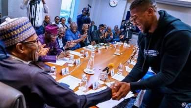 Photo of Anthony Joshua Meets President Bubari In London