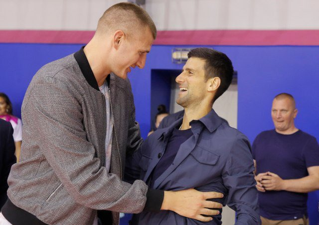 Nikola Jokic and Andy Murray exchanging pleasantries at the Tour