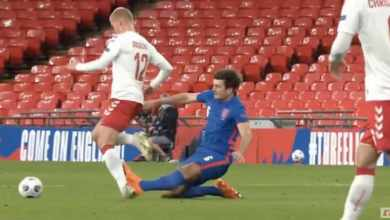 Photo of Man Utd captain Maguire sees red after career ending tackle on Dolberg