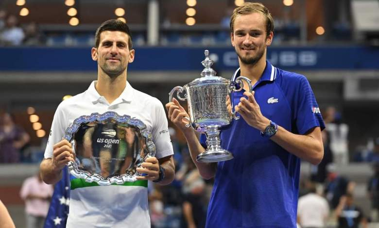 Medvedev and Djokovic after US Open final