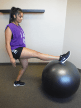 woman stretching her calves